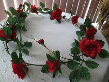 6 Ft. Silk Red Rose Floral Garland, Great for Valentines Day & Christmas, New