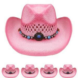 KIDS Pink Straw COWBOY HAT w/ Turquoise Blue Beads Shapeable WESTERN Cowgirl