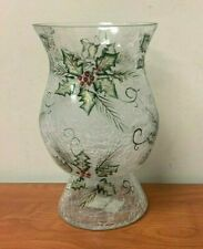 YANKEE CANDLE Holly Crackle Glass Hurricane Candle Holder