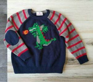 Hanna Andersson Dragon Sweater Boys 100 4T Cotton Knit Top Elbow Patches Stripes