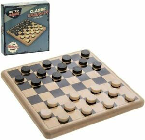 Retro Traditional Draughts Set 20 cm x 20 cm Wooden 2 Player Board Game
