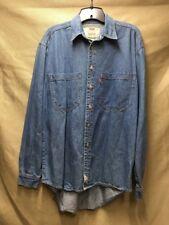 Men's Levi's Long Sleeve Green Label Denim Rivet Button Blue Jean Cotton Shirt S
