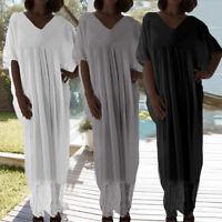 Women Lace Hem V Neck Batwing Sleeve Kaftan Beach Long Maxi Dress Plus Size 8-26