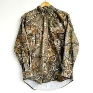 Browning Camouflage Men Small Button Heavy Cotton Blend Hunting Shirt Oak Brush