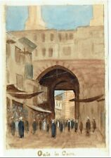 """OLD WATERCOLOUR PAINTING """" GATE IN CAIRO """" VINTAGE C.1880"""