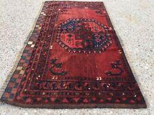 Vintage Traditional Afghan Turkmen Rug Wool Oriental Hand Made 124x70cm Boho