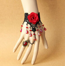 Gothic Retro Fashion Red Rose Lace Man-made Crystal Bracelet Ring sets Jewelry