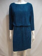 LONDON TIMES WOMAN Dress 14W Blue Textured Stretchy Lined 3/4 Sleeve Sislou K10