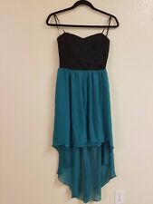 Sexy Black and sea green Cocktail Dress strapless Size 11 12 Jodi Kristopher