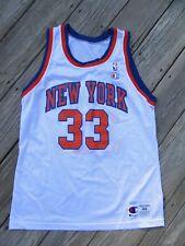 9T/RARE VTG CHAMPION NBA NEW YORK KNICKS PATRICK EWING WHITE HOME JERSEY/SZ L 44