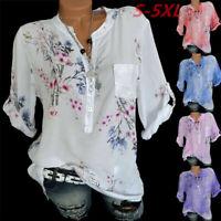 Women Plus Loose Vintage Floral Print V-Neck Blouse Pullover Tunic Tops Shirt