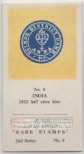 Vintage Trade Ad Card 1852 India Half Anna Blue  Postage Stamp
