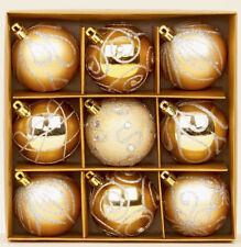 9X Oro Pálido Decorado Árbol de Navidad Bolas Decoración Mezclado Acabado
