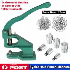 "1/4"" 3/8"" 2/5"" Grommet Machine 3 Dies 1500 Grommets Eyelet Banner Hand Press USA"