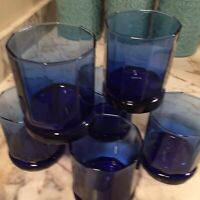 Anchor Hocking Cobalt Blue Ellis Double Old Fashioned Glasses Set Of Six