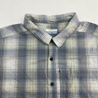 Columbia Button Up Shirt Men's Size 2XL XXL Short Sleeve Gray Plaid Omni Wick