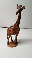"Giraffe Wooden Sculpture Figurine Carved Wood Stain Spots 12"" Tall Safari Zoo"