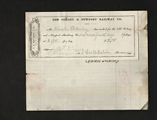 1869 Old Colony railroad document signed by Civil War soldier George H. Melvin