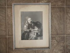 Medieval Era ? PICTURE OLD WOMAN w large book has moisture damage Flea Mkt AS IS