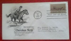 First day of issue, 1968 75th Anniversary of the Cherokee Strip, # 1360