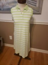 EXC Lilly Pulitzer  sleeveless lime green & white striped polo dress size M