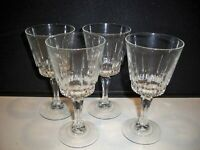 4 CRYSTAL FRENCH GOBLETS VERTICAL CUT MULTISIDED STEMS 8 OUNCES