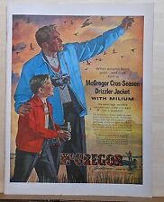1955 magazine ad for McGregor Drizzler coat - Duck hunting with camera in autumn