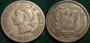 NICE GRADE 1937 5 CENTAVOS DOMINICAN REPUBLIC**NICE DETAILS