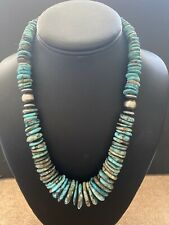 Navajo Sterling Silver Graduated Turquoise  Bead Necklace  18 Inch