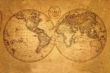 OLD WORLD MAP ANTIQUE POSTER (61x91cm) EDUCATIONAL WALL CHART PICTURE PRINT NEW