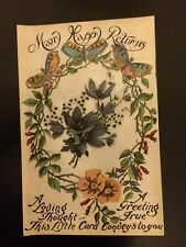 "Vintage greeting card postcard unused original ""Many Happy Returns"""