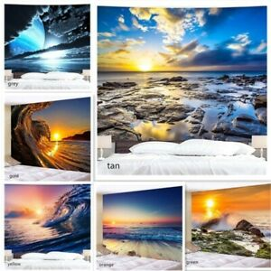Waves Sunset Tapestry Art Background Blanket Wall Hanging Tapestries Home Decor