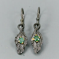 Emerald Earrings Silver 925 Sterling Handmade  /E38080