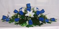 artificial wedding flowers top table decoration royal blue roses & ivory liys
