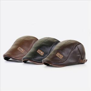 Vintage Look Mens Soft Leather Ivy Beret Newsboy Gatsby Golf Cabbie Flat Cap Hat