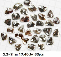 3.00 ct lot Loose Natural Gray Brown color Old Rose cut thick Slices choose Size