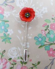 Lapel Flower Brooch Hand Painted Tiny Red Poppy Pin Commemorative Remembrance