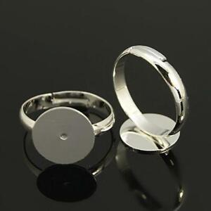 ADJUSTABLE RING BLANKS 12mm PAD SILVER PLATED ADULT SIZE TOP QUALITY ( MSC2 )