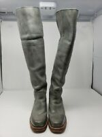 "EUC Frye Tall Blue/Gray Distressed 1 1/2"" Heeled Leather Riding Boots Size 5.5"