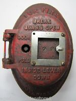 FIRE ALARM Antique Box Patent 1908 Cast Iron Oval Embossed PAT'D MARCH 31 08