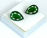 Natural 17-19 Ct Pear 16 x 11 mm Colombian Emerald Gemstone Pair AGI Certified