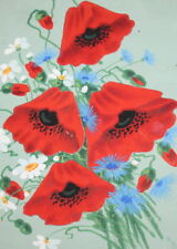 Vintage still life poppy flowers gouache painting signed