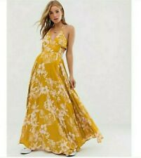 New $128 Free People Lille Floral Printed Maxi Dress Hawaii Honey Yellow XS Boho