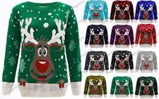 Crew Neck Long Sleeve Reindeer Jumpers & Cardigans for Women