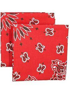 2 Pack Paisley 100% Cotton Handkerchief  With Sewn Edges Bandana