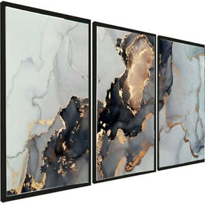 A3 Set of 3 Modern Wall Pictures Frame Posters FRAMED Abstract Marble Grey Gold