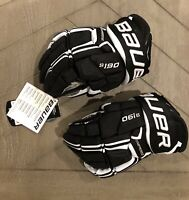 NEW WITH TAGS - Bauer Supreme S190 Ice Hockey Gloves Black/White Junior Size 11
