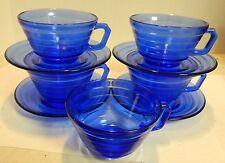 Vintage (9) Pieces of Ringed Cobalt Blue Glass Cups & Saucers Excellent Condit