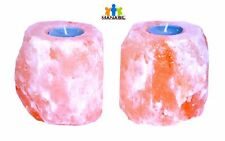 Manasil Himalayan Salt Lamp Natural Tea Light Candle Holder 2 Pcs 4-6 lbs 4 inch