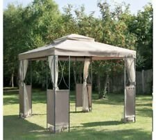 Taupe Luxury Metal Framed Gazebo approx. 2.5m X H2.6 Garden Outdoor High Quality